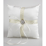 Satin Wedding Ring Pillow With Ribbons And Rhinestone