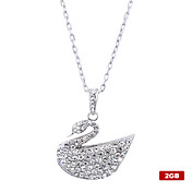 2GB Crystal Swan Shaped USB Flash Drive Necklace (Silver)