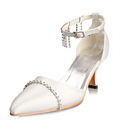 Top Quality Satin Upper Mid Heel Closed-toes With Rhinestone Fashion Shoes