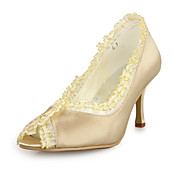 Satin Upper High Heel Peep Toe With Stitching Lace Wedding Bridal Shoes