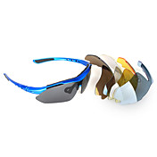 Sports Sun Glasses Cycling Goggle 5 UV400 Polarized Lens with Blue Frame