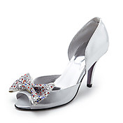 Leather Upper High Heel Peep-toes With Rhinestone Fashion Shoes