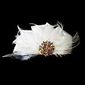 Gorgeous Satin With Feather/Rhinestones Wedding Bridal Headpiece