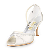 Satin Upper Stiletto Heel Sandals With Rhinestone Wedding Shoes More Colors Available