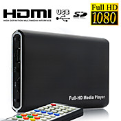 Full HD 1080p jogador multi-media com controle remoto, sada HDMI