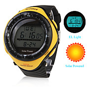 Waterproof Solar Powered Automatic Watch with Alarm &amp; EL Light &amp; Chronograph - Yellow
