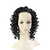 Lace Front Medium Mixed Hair Black Curly Hair Wig