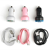 USB зарядное устройство на два порта с питанием от сети автомобиля и 30-pin кабелем для IPad 2.