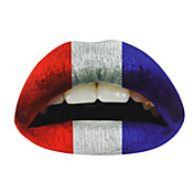 5 Pcs French Flag Temporaty Lip Tattoo Sticker