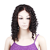 "100% Indian Remy Hair Natural Black Color Curly 18"" Full Lace Wig"