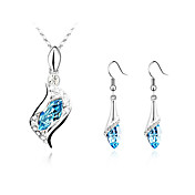 Gorgeous Ladies Crystal Jewelry Sets In Sliver Alloy Including Necklace Earrings More Colors Available