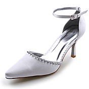 Satin Upper High Heel Closed-toes With Rhinestone Wedding Bridal Shoes