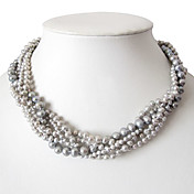 5 Strand Grey 3-7MM Freshwater Pearl Necklace - 16 Inch