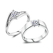 Amazing 925 Sterling Silver With Cubic Zirconia Lovers Rings (Set Of 2)