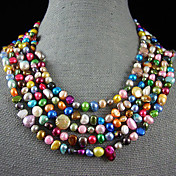 4-10MM Rainbow Color Genuine Freshwater Pearl Necklace  100 Inch
