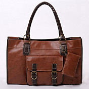Fashionable Ladies' PU Handbag With Zipper Pocket And Buckled Bag
