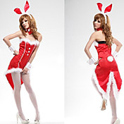 Christmas Style Sexy Red Polyester Bunny Girl Costume (4 Pieces)