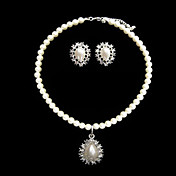 Stunning Pearl With Drop Jewelry Set Including Necklace and Earrings