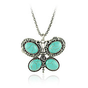 Turquoise And Silver Alloy Butterfly Necklace
