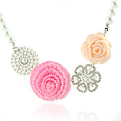 Faux Pearl And Pink Flowers Necklace