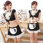 Super Fascinated Black Lace Polyester Maid Suit (6 Pieces)