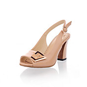 Leatherette Chunky Heel Sandals / Peep Toe With Buckle Casual Shoes (More Colors Available)