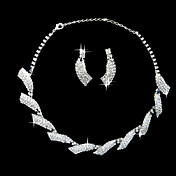 Gorgeous Rhinestone Two Piece Willow Leaf Design Ladies' Jewelry Set (45 cm)