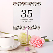 Personalized Square Table Number Card - Artistic Leaf