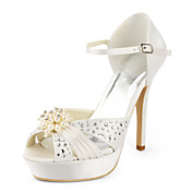 Satin Stiletto Heel Platform / Pumps With Rhinestone Wedding Shoes (More Colors Available)