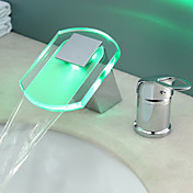 Color Changing LED Waterfall Bathroom Sink Faucet by Hydroelectric power - Chrome Finish