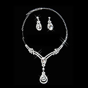 Gorgeous Rhinestone Spring Garden Ladies Necklace and Earrings Jewelry Set (50 cm)