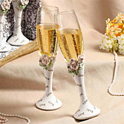 Chic Diamond-embedded Rose Design Wedding Toasting Flutes