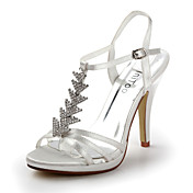 Satin Stiletto Heel Sandals Wedding / Honeymoon Shoes With Rhinestones (More Colors)
