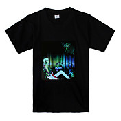 Sound and Music Activated Girl with Headphone Pattern LED T-shirt (3 x AAA Batteries)