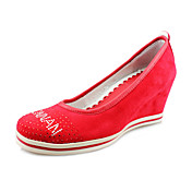 Leather Wedge Heel Height Increasing Closed Toe Shoes With Rhinestone (More Colors Available)