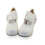 Handmade White PU Leather 4.5cm Wedge Classic Lolita Shoes