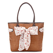 Sweet Series Straw Shoulder Bag With Bowknot