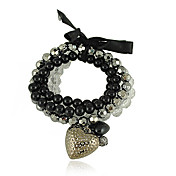 Black And White Layered Ladies' Strand Bracelet With Heart And Bow