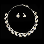Pearl Spring Ladies Necklace and Earrings Jewelry Set (50 cm)