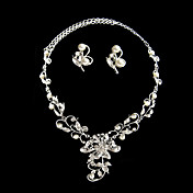 Timeless Ladies Pearl Necklace and Earrings Jewelry Set (50 cm)