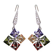 Fabulous Multicolor Platinum Plated With  Square Cut Shape Cubic Zirconia Earrings