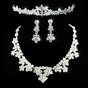 legering med elegant rhinestone bryllup smykker inklusiv tiara, halskjede, redobber