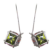 Fabulous Platinum Plated With Square Cut Shape Cubic Zirconia Earrings