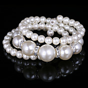 Fashion Ladies' Spiralof Three Level Imitation Pearl Bracelet