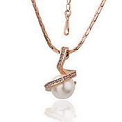 18K Gorgeous Fashion Rhinestone Alloy Pearl Necklace (More Colors)