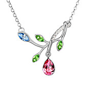 Austrian Crystal With Real Platinum Plated  Anti-Allergy Ladies Necklace Spring Overflowing (More Colors)