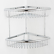 Contemporary Chrome Finish Fan-shaped Double Layer Wall-mounted Soap Basket