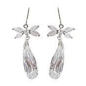 Unique White Platinum Plated With Oval Shape Cubic Zirconia Earrings