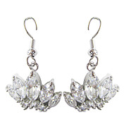 Charming White Platinum Plated With Oval Shape Cubic Zirconia Earrings