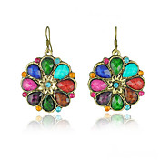 Antique Bronze-plated Colorful Circle Earring